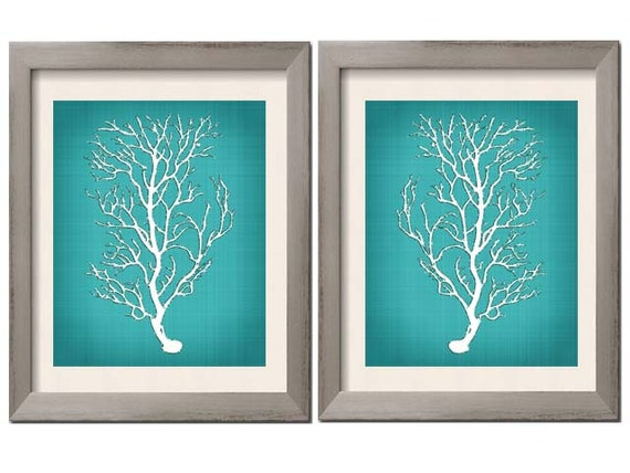 Beach House Decor Teal Wall Art Teal Art Teal White Teal