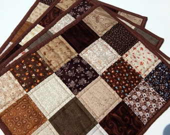 Shades of Brown Patchwork Quilted Placemats - set of 4
