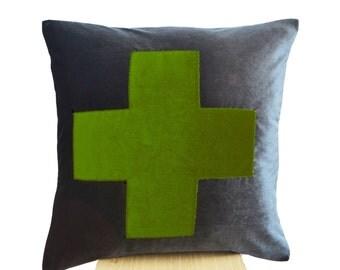 Grey Pillow- Grey Green Throw Pillow - Velvet cushions -Decorative cushion cover-Velvet Throw pillow -gift pillow 16X16 -Gray green pillow