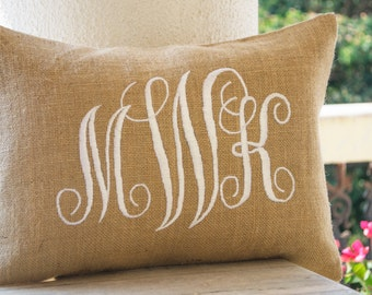 Burlap Monogram Pillows Cover, Custom Lumbar Monogram Pillow, Cursive Three Letters Monogram Pillows, Initial Cushion, Gift, Wedding Pillow