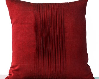 Decorative Pillow Cover, Accent Pillow, Textured Pleated Throw Pillow, Large Pillow Case, 24x24, Gift, Red Silk Pillow, Euro Sham, Wedding