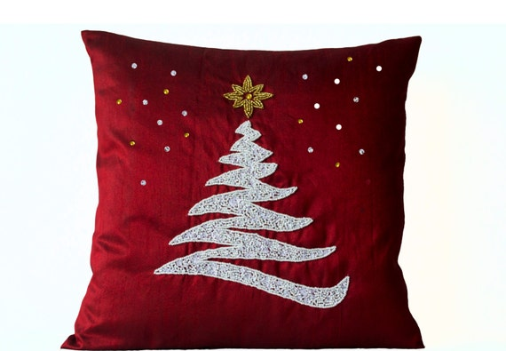 Decorative Pillow cover Christmas Pillow Red Silk by AmoreBeaute