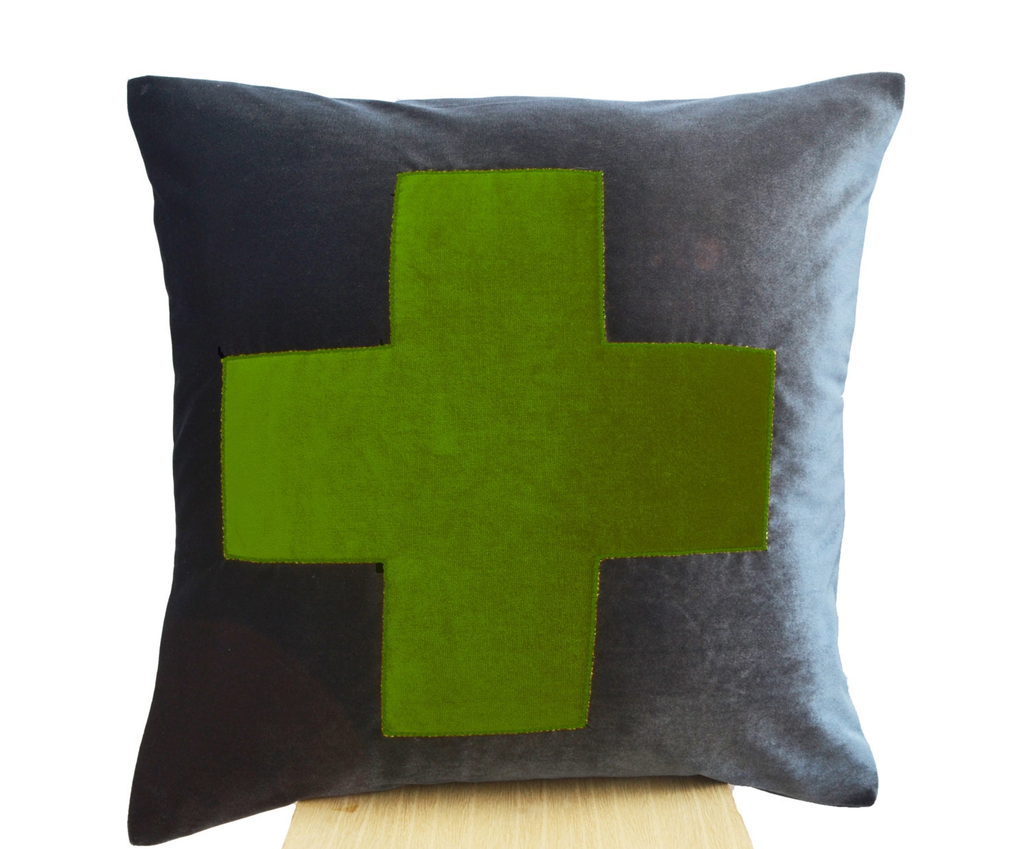 Grey Pillow Grey Green Throw Pillow Velvet Cushions