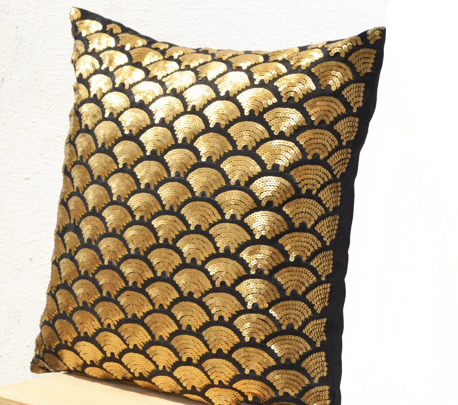 Gold sequin pillows embroidered waves Black throw pillow