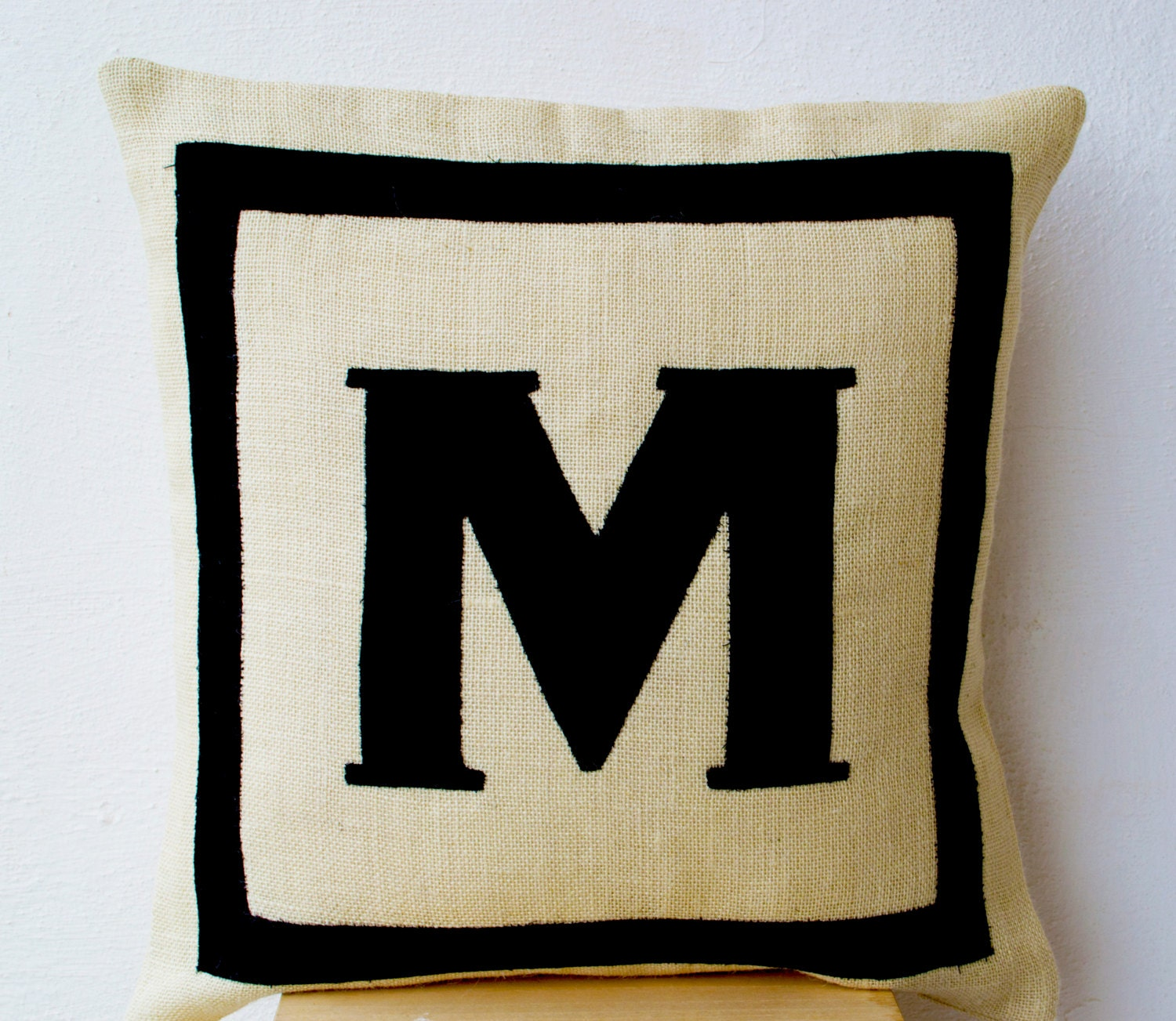Custom Monogrammed Throw Pillows : Initial Pillow Personalized Throw Pillow Burlap Pillows