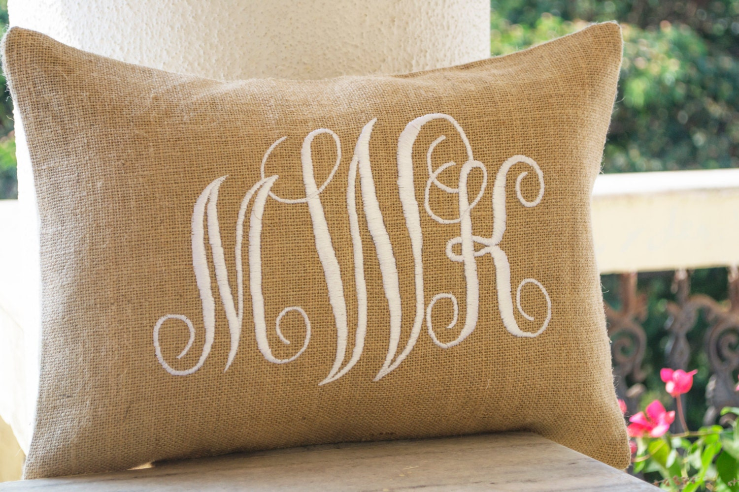 Burlap Monogram Pillows Cover Custom Lumbar Monogram Pillow