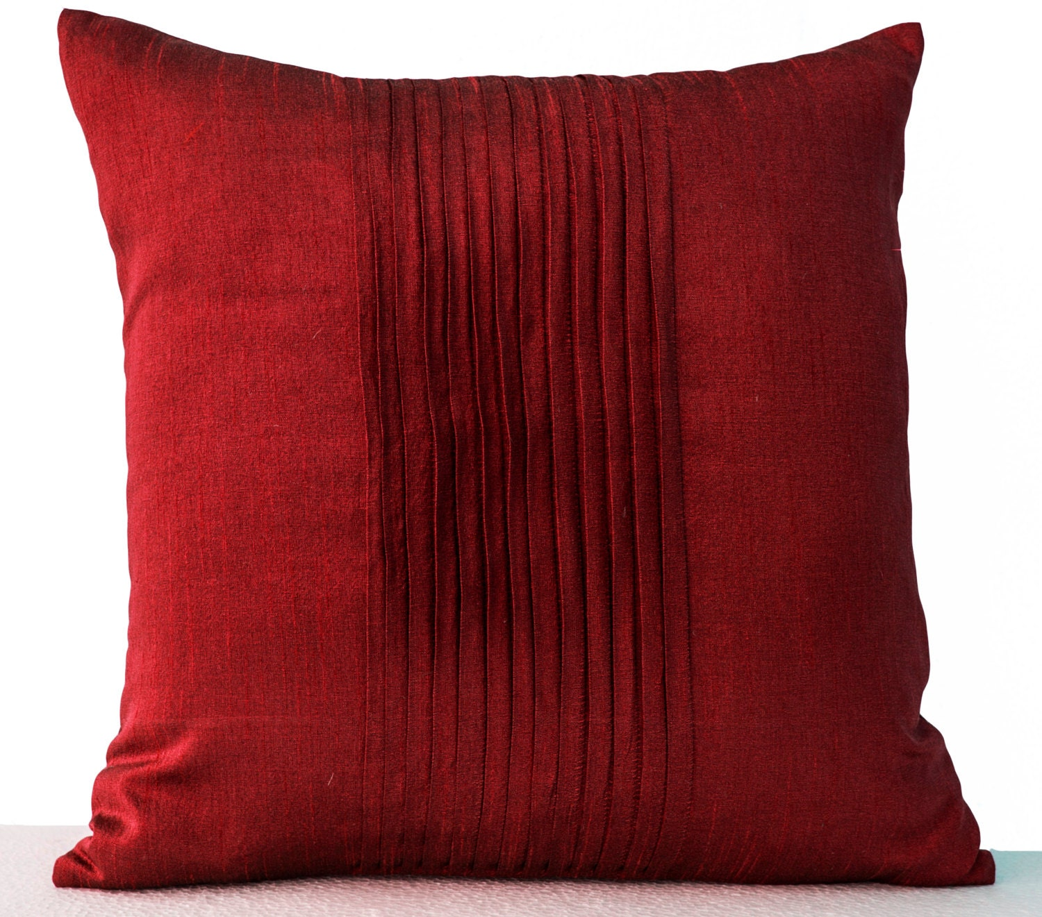 Throw pillows in red art silk Attractive cushion in rippled