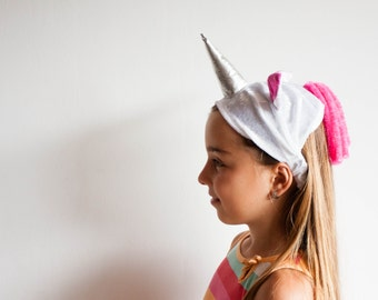 Unicorn Headband, Pink Unicorn, Girls Dress up, Rainbow, PInk Mane