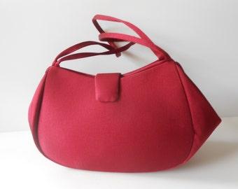 Red Evening Bag Vintage La Regale Handbag Crimson Red Handbag EB-0285