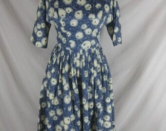 Vintage 50s 60s Blue Silk Novelty Print Eyeballs Full Skirt Party Dress W 25