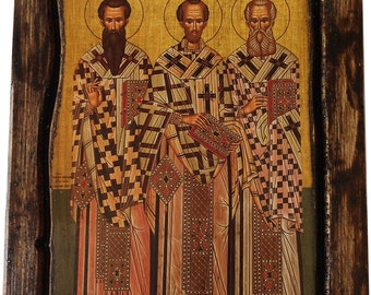 Three Holy Hierarchs - Saint St. Basil, Saint St. Gregory, Saint St. John - Orthodox Byzantine icon on wood handmade (22.5 cm x 17 cm)