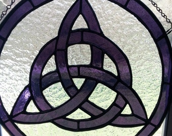 Purple stained glass Celtic Knot
