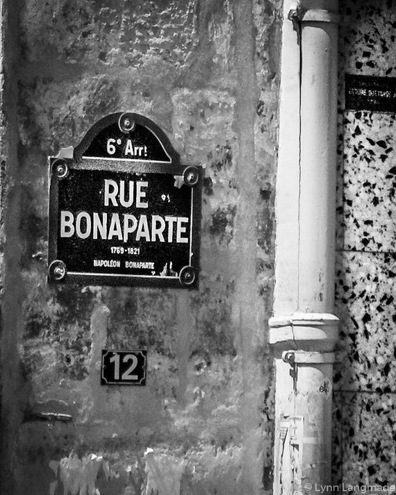 Street Wall Art Black And White : Black and white photography street sign paris