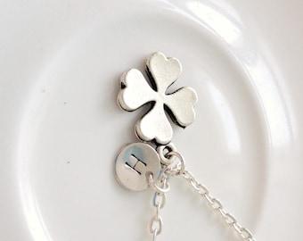 Clover Necklace, Four Leaf Clover Necklace, Silver Necklace, Initial Necklace, Monogram Necklace, Good Luck Gift