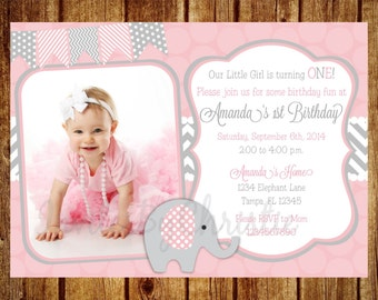 Pink and Gray Elephant Photo Birthday Invitation- Digital File- DIY Printable-Photo Chevron Invitation-Any Age- 1st, 2nd, 3rd, 4th, 5th, 6th