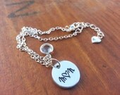 Sweet & Simple Hand Stamped Charm Bracelet - Silver Tone - Monogrammed Bracelet, Mother's Day, Bridesmaids Gift, Custom Initials Bracelet