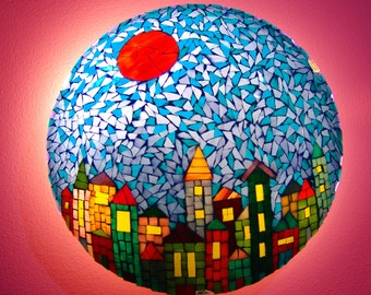 Mosaic wall lamp, small colorful town, soft lighting and decoration