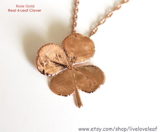 Rose Gold Four Leaf clover Necklace, Real four-leaf clover dipped n rose gold, Lucky pendant, Birthday gift ideas for her, Good luck jewelry