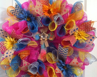 Summer Mesh Wreath/ Cross Wreath/ Cross Deco Mesh Wreath
