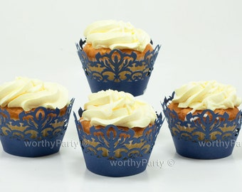 Classic Damask Filigree Navy Blue - Elegant Laser Cut Lace Wedding Cupcake / Muffin  Wrappers - (set of 12)
