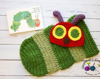 Crochet Newborn baby Hungry Caterpillar Hat and Cocoon, PHOTO PROP, Hungry Caterpillar set-Made to order