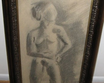 "ANTIQUE NUDE DRAWING-Charcoal in an Antique Frame 16"" X 28 1/2"""
