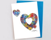 Rainbow Colored HEARTS DESIGN Fine Art Boxed Greeting Card Set