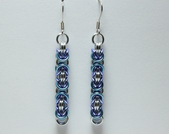 Byzantine Chainmaille Earrings | Hand Crafted Chainmaille Jewelry | Handmade Earrings | Light Blue, Purple, and Silver | Anodized Aluminum
