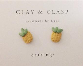 Pineapple Earrings - beautiful handmade polymer clay jewellery by Clay & Clasp