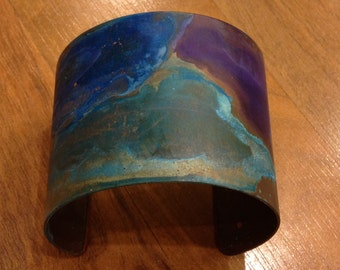 Green/Blue/Purple Copper Patina Cuff Bracelet Handmade by Bethsgemboutique