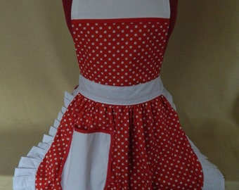Retro Vintage 50s Style Full Apron / Pinny - Red & White Polka Dot with White Trim