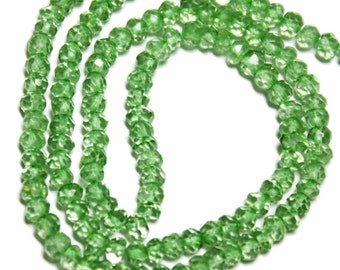 Green luster-coated topaz micro-faceted rondelles.   Approx 3.5mm.  Select a strand length