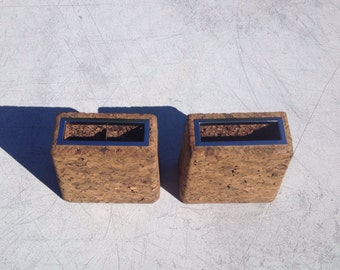 Vintage Cork Bookends with Pen Holders