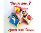 SPECIAL: Choose 3+ Mexican Loteria Mini Pillow Lavender Sachets - Day of the Dead decor, Mexican party favors, Mexican loteria gift