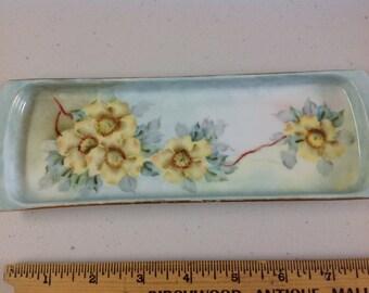 Vintage Handpainted Porcelain Dresser Pin Tray MZ Austria Roses