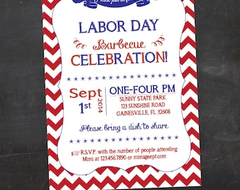 Labor Day Party, Labor Day BBQ, Labor Day Cookout - Printable Invitation - Red Chevron - Custom