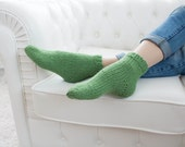 Knit wool short socks for women, hand knit socks, wool socks, Handmade Knitted Wool Socks, green