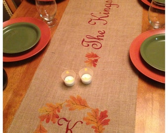 "Burlap Table Runner 16"" & 18"" wide Monogram w/leaf border and name Holiday decorating Fall decor"