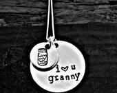 I love you granny hand stamped mason jar necklace, memorial jewelry, canning grandma, mason jar stamped, vintage jewelry, hand stamped gift