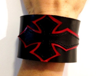 Genuine leather bracelet, red and black leather bracelet.