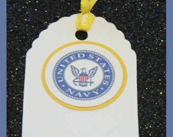 Navy gift tags, Navy promotion tags, Navy party tags, set of 10