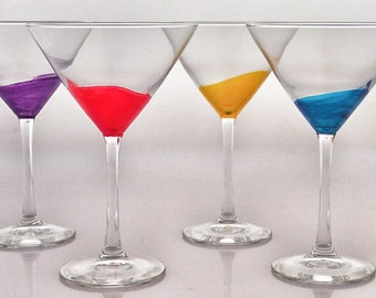 Hand Painted Martini Glasses, set of 4