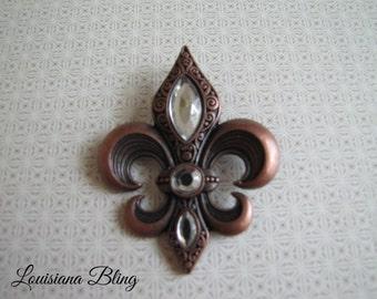 Large Fleur De Lis Pendant 68mm x 53mm Antique Copper Finish With  Crystal Accents Large bold Fleur De Lis Pendant with bail 6-9-C