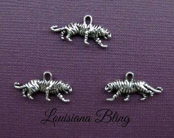 16 PiecesTiger Charm Pendant Double Sided 23x12mm Antique Silver Finish, Tiger charms 9-16-S