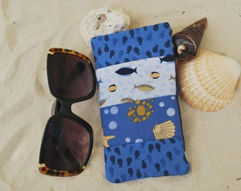 Designer Fish/Tropical Print Eyeglass/Sunglass Case