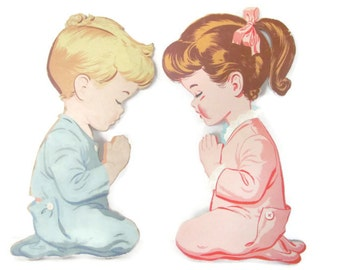Vintage Nursery Decor, Pictures, 1950's Praying Boy and Girl Wall Hanging, Plaques, Dolly Toy Co, Baby Nursery, Mid Century Decor