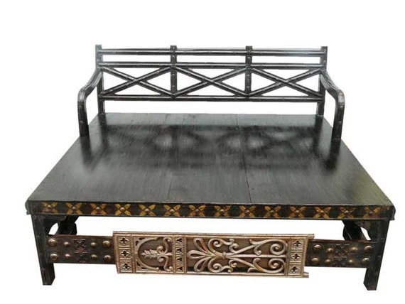 Antique daybed rustic hand crafted diwan brass by mogulgallery for Old diwan bed