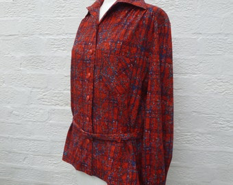 Red blouse size 14 clothing red ladies top 90s blouse womens clothing vintage red top office blouse red secretary blouse shirt gift clothing