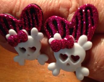 Heart/skull kids botton earring