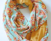 Infinity Scarf - Mint Knit with Floral patterned scarf backed with Mustard Yellow Knit - Scarf